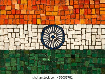 The national flag of the republic of India, created as window pane.
