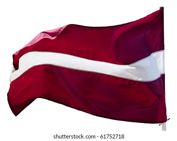National flag of Republic of Latvia. Member of European Union and NATO. Isolated with clipping path.
