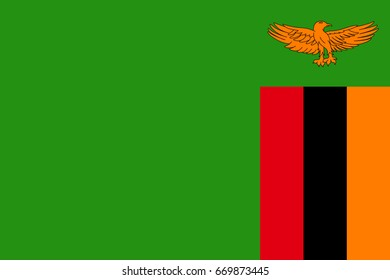 National flag Republic of Zambia. Symbol african state in proportion correctly and official colors. Patriotic sign Eastern Africa country.  icon illustration