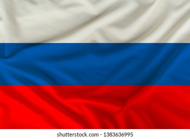 national flag of Russia on silk fabric with soft folds