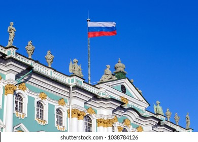 The national flag of the Russian Federation on the roof of an ancient building
