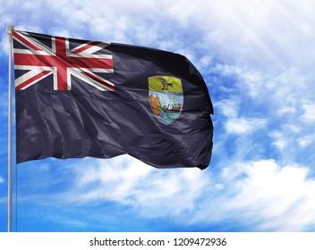 National flag of Saint Helena on a flagpole