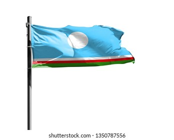 National flag of Sakha Republic on a flagpole isolated on white background