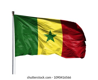 National flag of Senegal on a flagpole, isolated on white background
