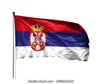 National flag of Serbia on a flagpole, isolated on white background