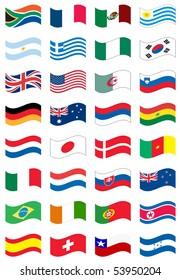 National flag set in white background