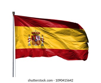 National flag of Spain on a flagpole, isolated on white background