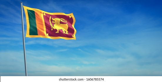The National flag of Sri Lanka blowing in the wind in front of a clear blue sky. 3d illustration.