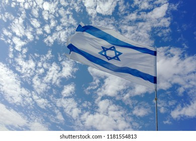 National flag of State of Israel, white-blue with Star of David, Magen David