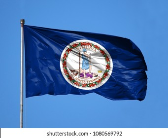 National flag State of Virginia on a flagpole