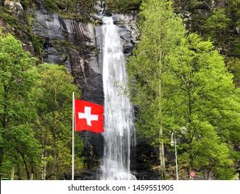 National flag of the Swiss Confederation (Flag of Switzerland - National Flag of Switzerland)- Nationalflagge der Schweizerischen Eidgenossenschaft (Offizielle Flagge der Schweiz - Schweizer Flagge)