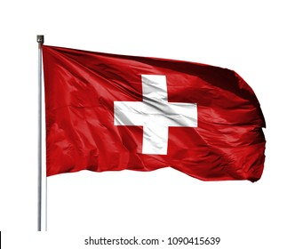 National flag of Switzerland on a flagpole, isolated on white background