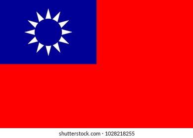 National flag of Taiwan in red white and blue
