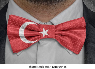 National flag of Turkey on bowtie business man suit