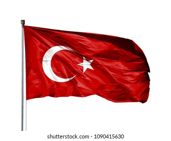National flag of Turkey on a flagpole, isolated on white background