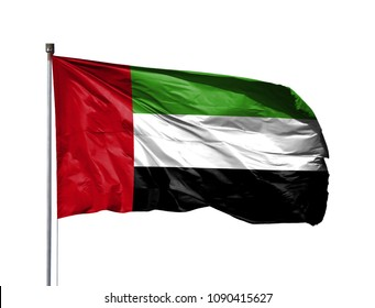National flag of United Arab Emirates on a flagpole, isolated on white background