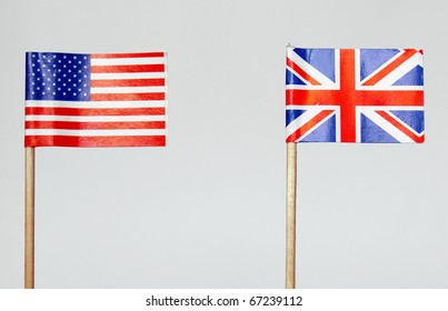 The national flag of the United Kingdom (UK) and United States of America (USA)
