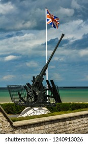 The national flag of the United Kingdom. World War Two Sites in Europe, Arromanches, Normandy, France
