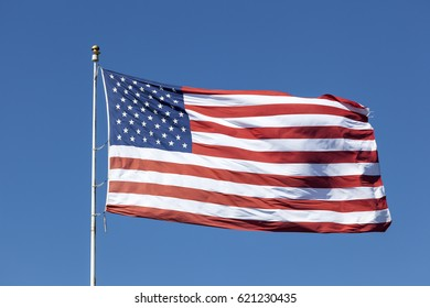 National flag of the united states of america waving in the wind