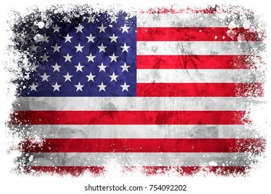 National flag of United States on grunge concrete background