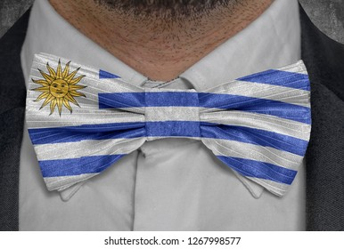 National flag of Uruguay on bowtie business man suit