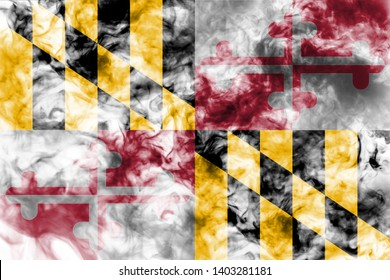 The national flag of the US state Maryland in against a gray smoke on the day of independence in different colors of blue red and yellow. Political and religious disputes, customs and delivery.