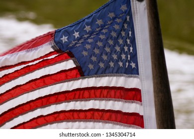 National Flag of USA on a boat
