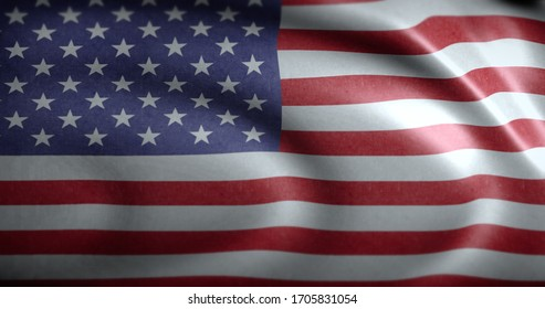 National flag of USA waving on the wind