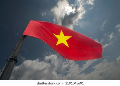 The  national flag of Vietnam on the tower of the North Pole of Vietnam, Lung Cu is the northernmost point in the country from which you can see China.