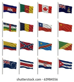 National flags - Cambodia, Cameroon, Canada, Cayman Islands, Central African Republic, Chad, Chile, China, Colombia, Confederate, Congo (Democratic Rep), Cook Islands, Costa Rica, Croatia, Cuba
