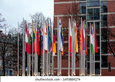 National flags of different States on the flagpoles near European Patent Office in Munich/Germany