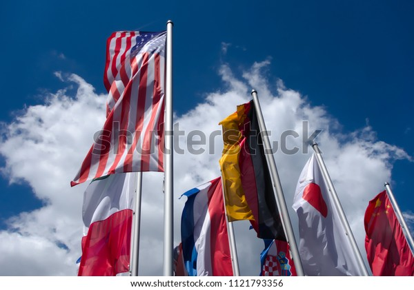 National flags: Flag of the United States, Flag of Germany, Flag of Japan