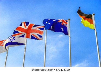 national flags flying in wind