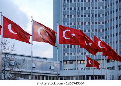 National flags of Republic of Turkey waving in front of the Ministry of Foreign Affairs Building