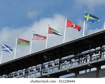 National flags of Scotland, USA, Switzerland, Sweden and other countries