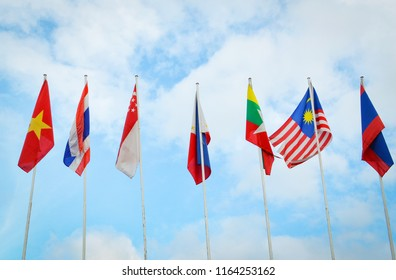 national flags of Southeast asia countries, AEC, ASEAN Economic Community flags.