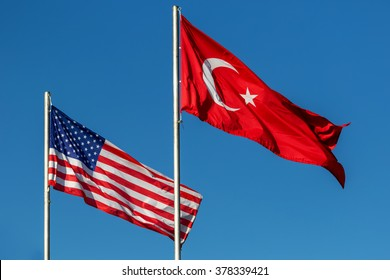 National flags of Turkey and the USA
