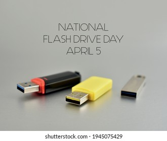 National Flash Drive Day stock images. Various USB flash drive on a silver background. Usb flash disk stock images. Flash Drive Day Poster, April 5. Important day