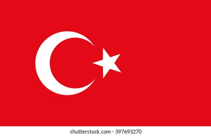 The national flat flag of Tuekey. red color with star and half moon, 2d background.
