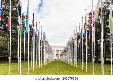 National flgs at the entrance in UN office at Geneva, Switzerland