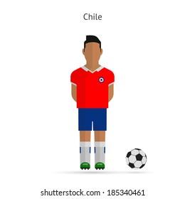 National football player. Chile soccer team uniform.