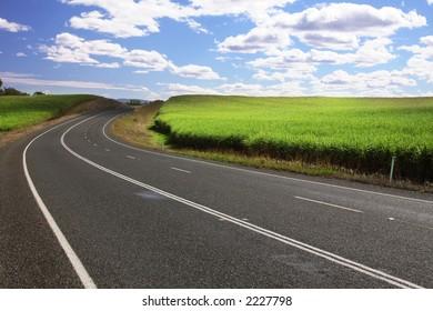 National freeway near sugar cane in Queensland - Australia