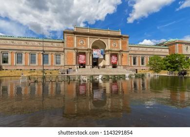 The National Gallery of Denmark (Statens Museum for Kunst), Copenhagen, Denmark - 23 Jun 2018: The original museum building was built  in a  Historicist Italian Renaissance revival style.