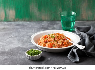 National Greek dish of rice with cabbage, tomatoes (Lahanorizo), selective focus