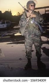 National Guardsman patrolling after 1992 riots, South Central Los Angeles, California