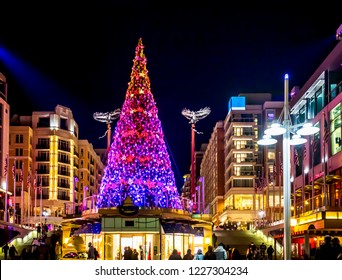 National Harbor, Marryland/USA - December 16th 2017: Christmas lights at National Harbor, Maryland, just outside Washington, D. C., in the United States