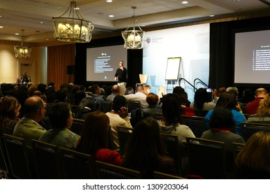 NATIONAL HARBOR, MARYLAND - FEB 8, 2019 - Presentation during a travel conference in hotel in National Harbor, Maryland