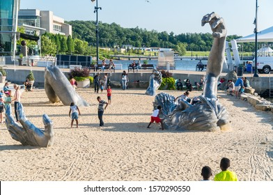 National Harbor, Maryland /USA -June 2, 2017: A view from the Awakening sculpture at the National Harbor, Washington DC / Maryland
