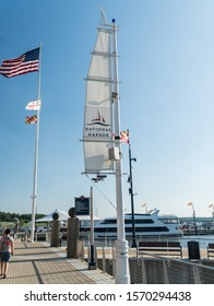 National Harbor, Maryland /USA -June 2, 2017: A view from the boardwalk at the National Harbor, Washington DC / Maryland.