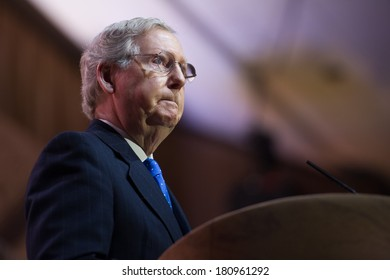 NATIONAL HARBOR, MD - MARCH 6, 2014: Senator Mitch McConnell (R-KY) speaks at the Conservative Political Action Conference (CPAC).